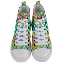 Abstract Pattern Colorful Wallpaper Women s Mid Top Canvas Sneakers