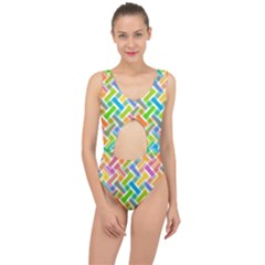 Abstract Pattern Colorful Wallpaper Center Cut Out Swimsuit