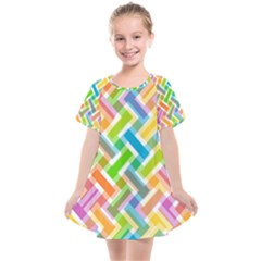 Abstract Pattern Colorful Wallpaper Kids  Smock Dress