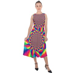 Colorful Psychedelic Art Background Midi Tie Back Chiffon Dress by Jojostore