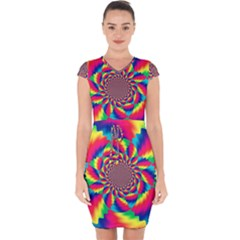 Colorful Psychedelic Art Background Capsleeve Drawstring Dress