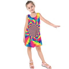 Colorful Psychedelic Art Background Kids  Sleeveless Dress by Jojostore