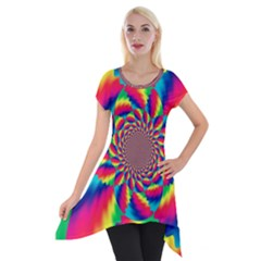 Colorful Psychedelic Art Background Short Sleeve Side Drop Tunic