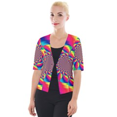 Colorful Psychedelic Art Background Cropped Button Cardigan