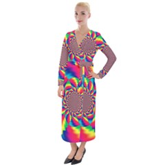 Colorful Psychedelic Art Background Velvet Maxi Wrap Dress