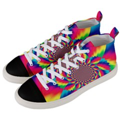 Colorful Psychedelic Art Background Men s Mid Top Canvas Sneakers by Jojostore