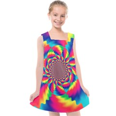 Colorful Psychedelic Art Background Kids  Cross Back Dress by Jojostore
