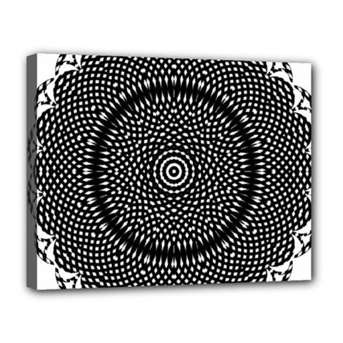 Black Lace Kaleidoscope On White Canvas 14  X 11  (stretched)