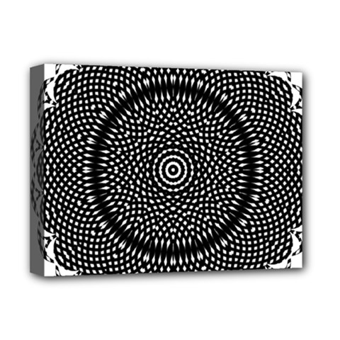Black Lace Kaleidoscope On White Deluxe Canvas 16  X 12  (stretched)