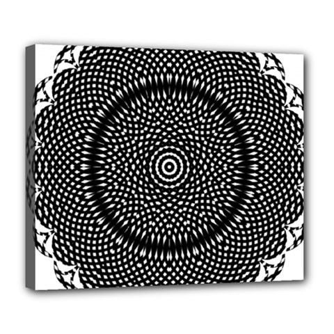 Black Lace Kaleidoscope On White Deluxe Canvas 24  X 20  (stretched)
