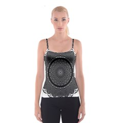 Black Lace Kaleidoscope On White Spaghetti Strap Top