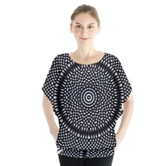 Black Lace Kaleidoscope On White Batwing Chiffon Blouse