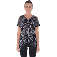 Black Lace Kaleidoscope On White Cut Out Side Drop Tee