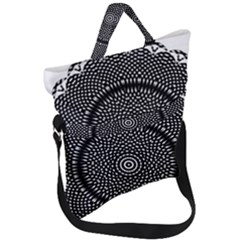 Black Lace Kaleidoscope On White Fold Over Handle Tote Bag by Jojostore