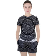 Black Lace Kaleidoscope On White Women s Tee And Shorts Set