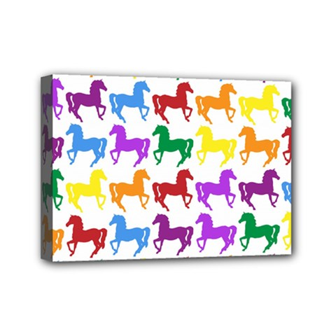 Colorful Horse Background Wallpaper Mini Canvas 7  X 5  (stretched) by Jojostore