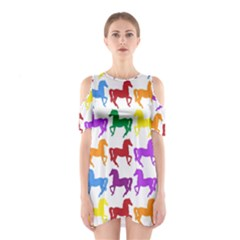 Colorful Horse Background Wallpaper Shoulder Cutout One Piece Dress
