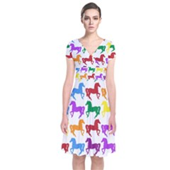Colorful Horse Background Wallpaper Short Sleeve Front Wrap Dress