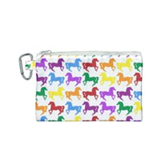 Colorful Horse Background Wallpaper Canvas Cosmetic Bag (small)