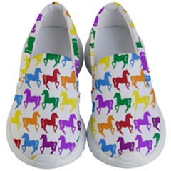 Colorful Horse Background Wallpaper Kid s Lightweight Slip Ons