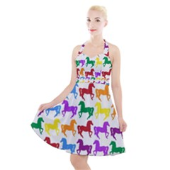 Colorful Horse Background Wallpaper Halter Party Swing Dress