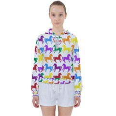 Colorful Horse Background Wallpaper Women s Tie Up Sweat