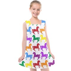 Colorful Horse Background Wallpaper Kids  Cross Back Dress