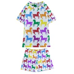 Colorful Horse Background Wallpaper Kids  Swim Tee And Shorts Set
