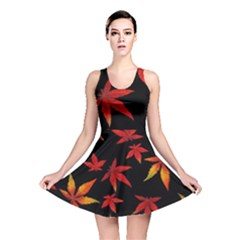 Colorful Autumn Leaves On Black Background Reversible Skater Dress by Jojostore