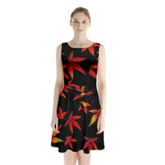 Colorful Autumn Leaves On Black Background Sleeveless Waist Tie Chiffon Dress