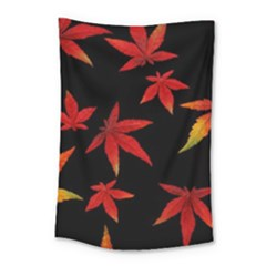 Colorful Autumn Leaves On Black Background Small Tapestry