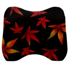 Colorful Autumn Leaves On Black Background Velour Head Support Cushion by Jojostore