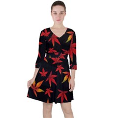 Colorful Autumn Leaves On Black Background Ruffle Dress