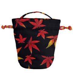 Colorful Autumn Leaves On Black Background Drawstring Bucket Bag by Jojostore