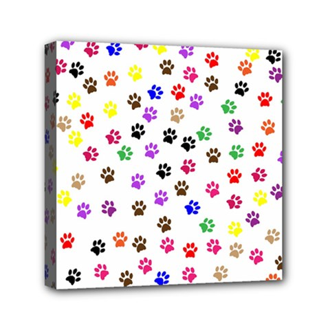 Paw Prints Background Mini Canvas 6  X 6  (stretched)