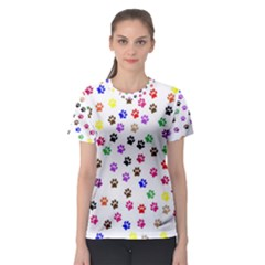 Paw Prints Background Women s Sport Mesh Tee