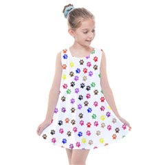 Paw Prints Background Kids  Summer Dress