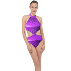 Circular Color Halter Side Cut Swimsuit