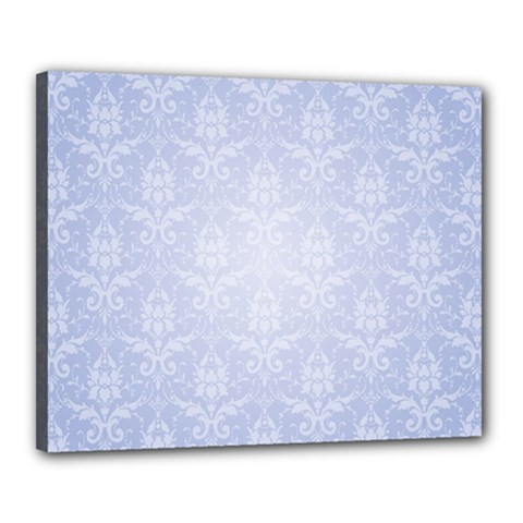 Damask Pattern Wallpaper Blue Canvas 20  X 16  (stretched)
