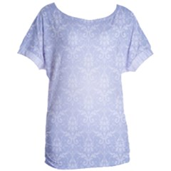 Damask Pattern Wallpaper Blue Women s Oversized Tee