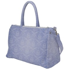Damask Pattern Wallpaper Blue Duffel Travel Bag by Jojostore