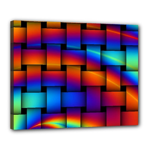Rainbow Weaving Pattern Canvas 20  X 16  (stretched) by Jojostore