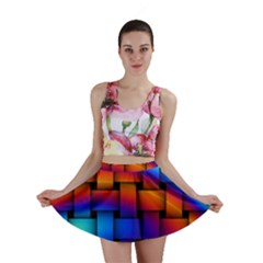 Rainbow Weaving Pattern Mini Skirt