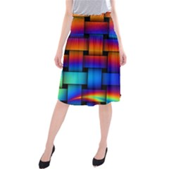 Rainbow Weaving Pattern Midi Beach Skirt