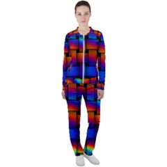 Rainbow Weaving Pattern Casual Jacket And Pants Set