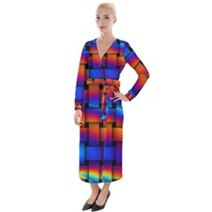 Rainbow Weaving Pattern Velvet Maxi Wrap Dress