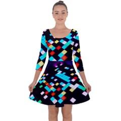 Dance Floor Quarter Sleeve Skater Dress by Jojostore
