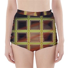 Drawing Of A Color Fractal Window High Waisted Bikini Bottoms