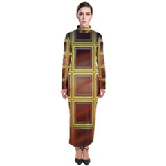 Drawing Of A Color Fractal Window Turtleneck Maxi Dress