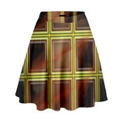 Drawing Of A Color Fractal Window High Waist Skirt by Jojostore